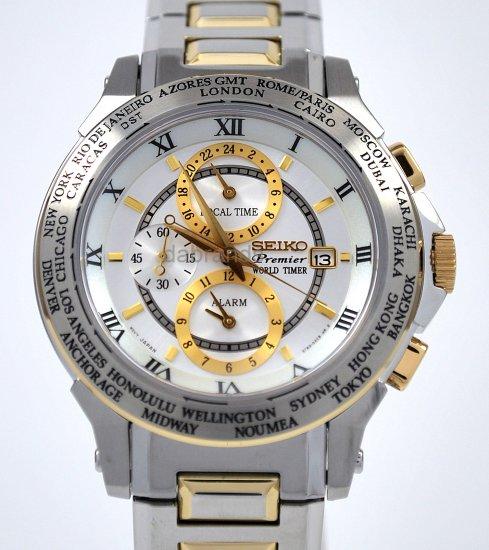 Seiko Elegant Worldtimer Roman White & Gold Dial SPL010