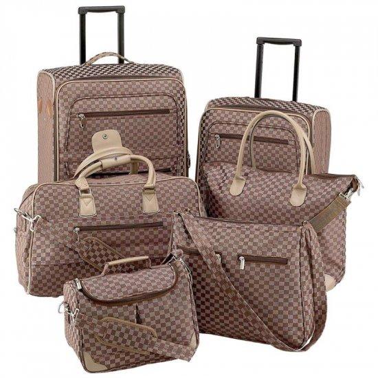 Gigi Chantal� 6pc Brown Tapestry Luggage Set