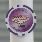 CASINO $500 PURPLE POKER CHIP FRIDGE MAGNET STRONG! LAS VEGAS