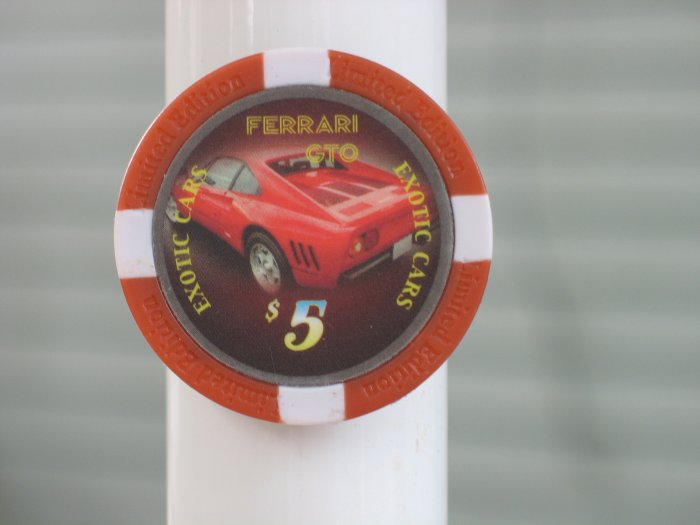 FERRARI GTO EXOTIC CAR $5 POKER CHIP FRIDGE MAGNET STRONG!