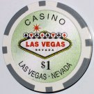 CASINO $1 GREEN POKER CHIP FRIDGE MAGNET STRONG! LAS VEGAS