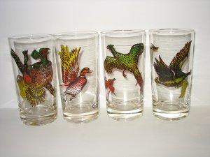 Vintage SET of 4 WILDLIFE GAME BIRD DRINK TUMBLER GLASSES Great for Hunting