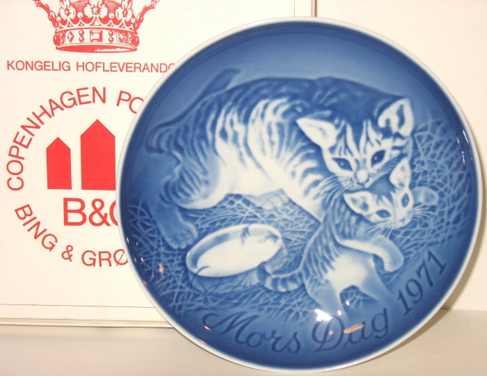 1971 B&G BING AND & GRONDAHL MOTHER'S DAY PLATE CAT New in Box