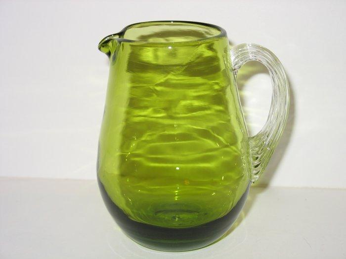 MINI GREEN CRACKLE GLASS PITCHER PILGRIM CRYSTAL DROP