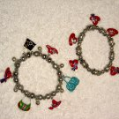 2 RED HAT SOCIETY BEAD CHARM BRACELETS PURSES STRETCH Wrist Band