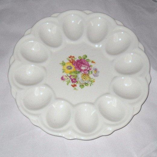 Deviled EGG Plate Tray Serving Platter E&R American Artware Porcelain Floral Vintage