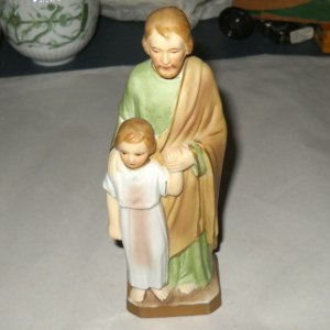 St Jude Saint with Child Bisque Figure Statue Sanmyro Japan Religious