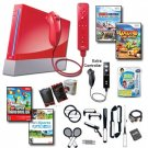 "Nintendo Wii Red ""Holiday Fun"" Bundle - Extra Remote and Nunchuk, 19 Games, and Lots of Accessories"