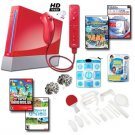 Nintendo Wii Red Holiday Mega Bundle with Remote Plus, Games, Dance Pad, and Much More.