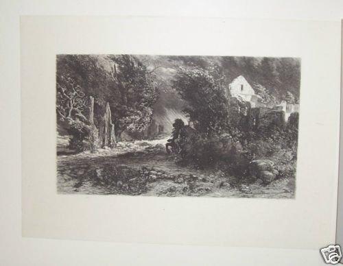 Death Riding through Landscape Steel Engraving 1800's