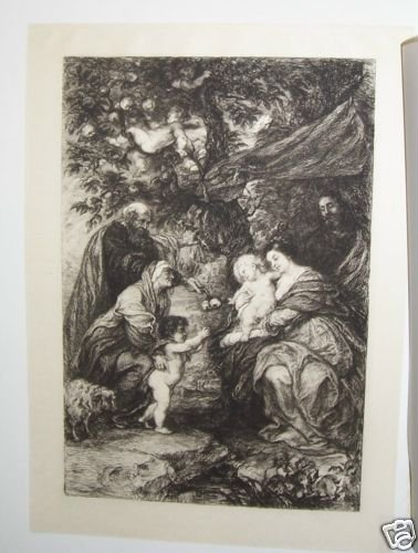 The Holy Family Steel Engraving  1800's