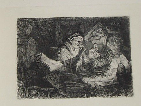 The Money Changer Steel Engraving  1800's