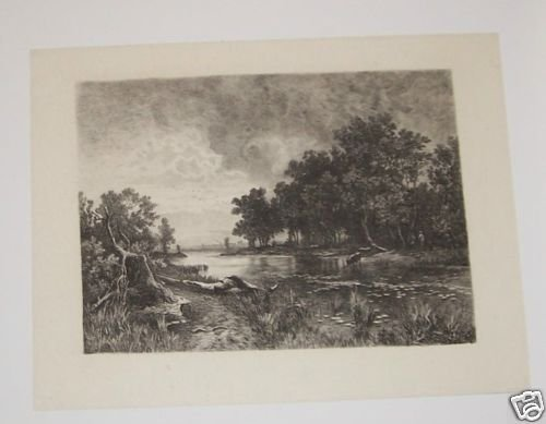 Sunset Steel Engraving 1800's