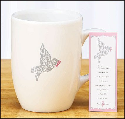 Lot of 20 Breast Cancer Awareness Mug w/Bookmark