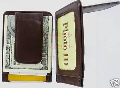 Man's Mens Leather Wallet Money Clip Credit Card Holder Brown