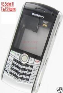 Silver No-Logo OEM RIM BlackBerry 8100 Pearl Full Housing Case
