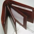 Men's Man's Bi-fold Bifold Fine Cow Hide Leather Wallet Brown
