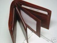 Men's Man's Bi-fold Bifold Fine Cow Hide Leather Wallet Brown