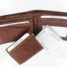 Men's Cow Hide Fine Genuine Leather Bifold Wallet Brown