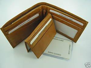 Men's Cow Hide Fine Genuine Leather Bifold Wallet Tan