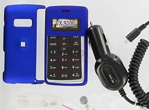 Verizon OEM Car DC Charger+Blue Snap-On Case LG enV2 VX9100