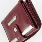 Women's Leather Wallet Purse Credit Card Coin Holder In Wine Red Color