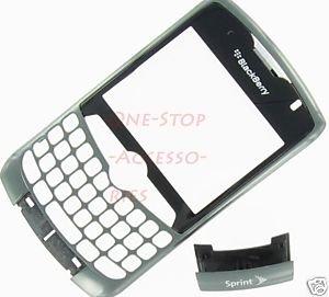 Sprint Blackberry Curve 8330 Faceplate+Lens+Bottom Clip Antenna Cover Titanium