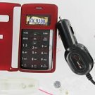 Verizon OEM Car DC Charger+Red Snap-On Case LG enV2 VX9100
