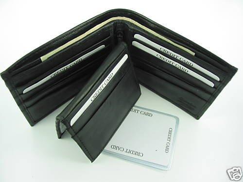 Bi-fold Cow Hide Fine Genuine Leather Men's Wallet Case