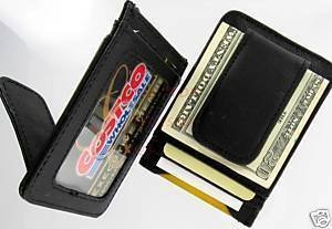 Leather Wallet Magnetic Money Clip Money Business Card Holder