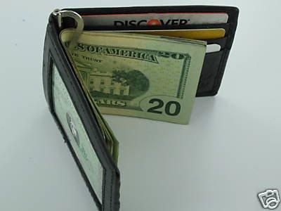 Man Men's Fine Leather Wallet Business Card ID Holder Money Clip