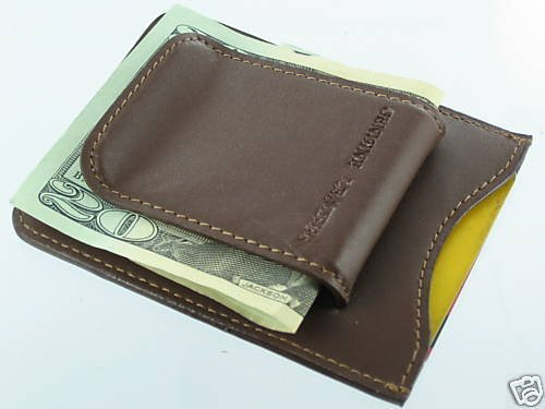 Leather Credit Business Card ID Cash Holder Wallet Money Clip