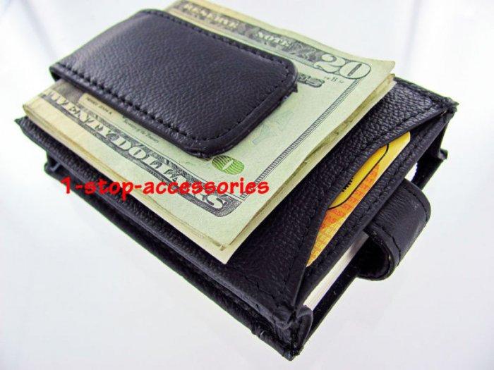 Men's Leather Wallet Money Clip ID Credit Cards Holder B