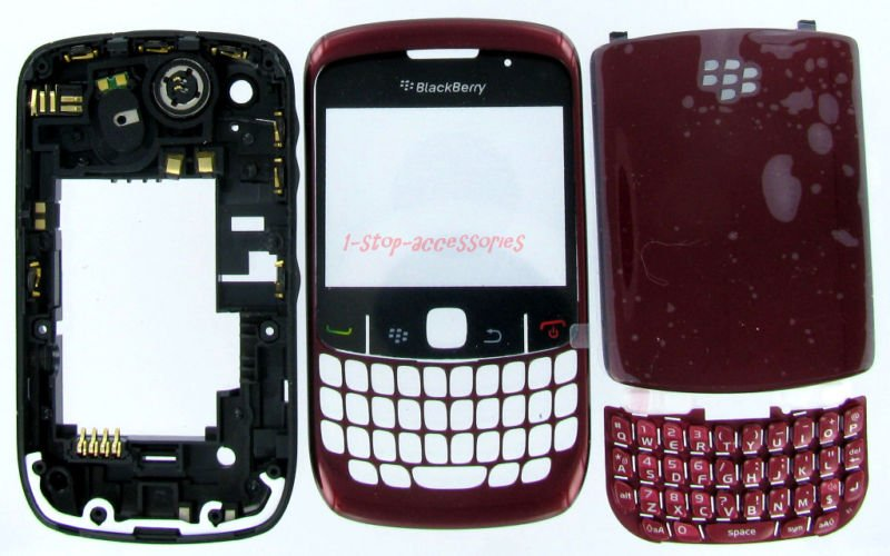 BlackBerry Curve 8530 Complete Full Housing Case Cover Red