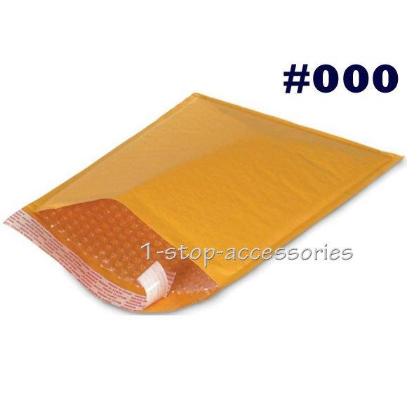 Lot of 500 4x8 #000 Self Seal Kraft Bubble Mailer Padded Envelope