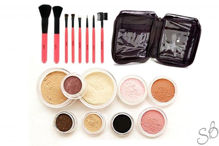 21pc Mineral makeup kit foundation eye shadow pink brushes-Fairly light-Light-Medium-Tan-Dark-Deep