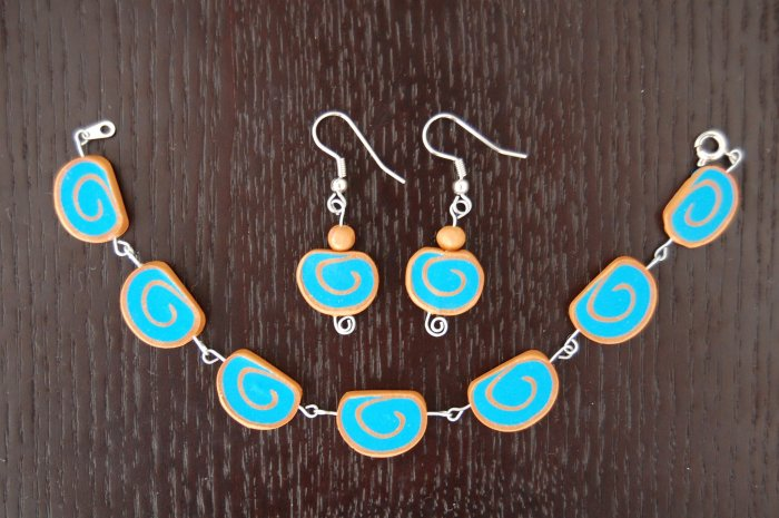 Blue & Gold Bracelet & Earring