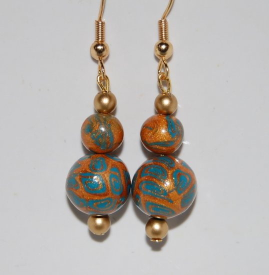 Gold & Blue earring