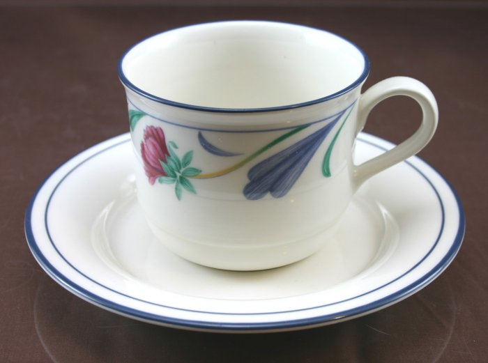 Lenox  Poppies On Blue (For The Blue) Flat Cup & Saucer Set