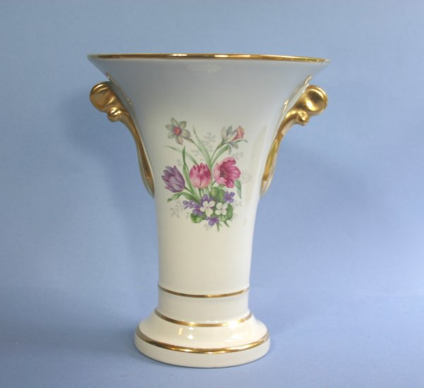 """Trenton Potteries 7.50"""" Double Winged Footed Floral Urn Vase Trenton Art China TAC"""