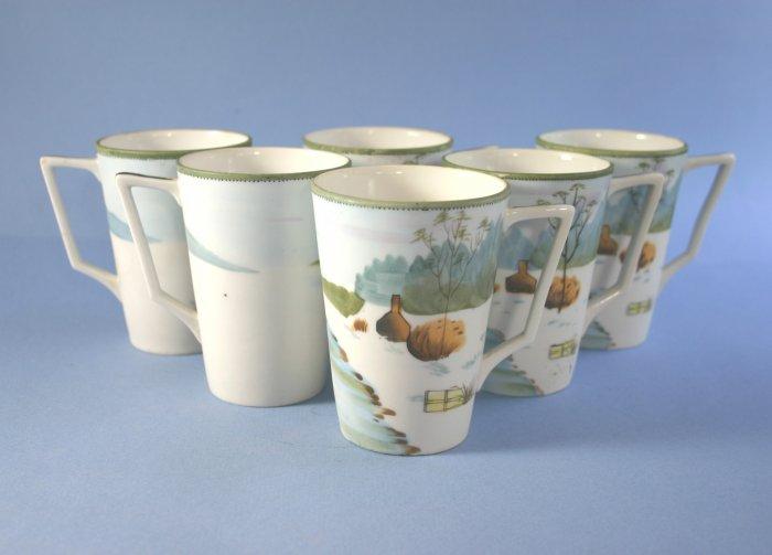 TE-OH China (Nippon) Hand Painted Chocolate or lemonade Cups/Mugs - Set of 6