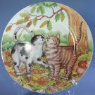 Email De Limoges hand-decorated Plates - Two Cats Under Oak Tree
