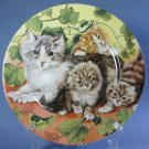 Email De Limoges hand-decorated Plates - Cat with Three Kittens