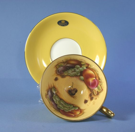 Aynsley Orchard Gold Yellow Footed Cup & Saucer Set
