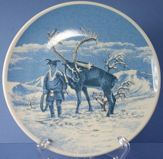 """Porsgrund (Norway) Laplander and a Reindeer 7"""" Plate"""
