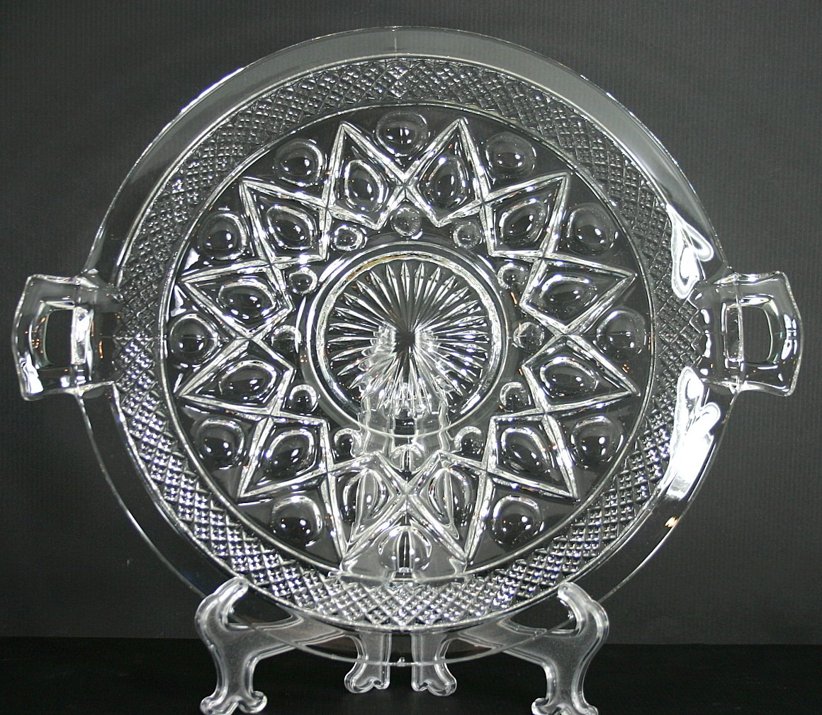 Imperial Glass Ohio Cape Cod Clear (1602 + 160) Large 2-Handled Plate