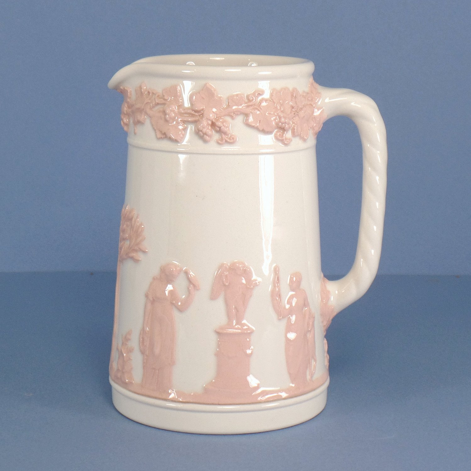 Wedgwood Pink On Cream Color (Plain edge) Pitcher - 16 Oz