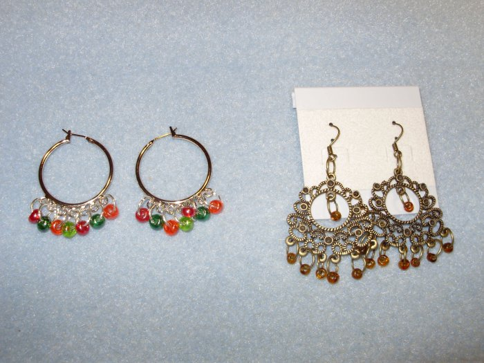 metal earrings with accents