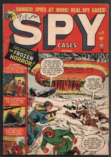 SPY CASES #8 ATOMIC BOMB COVER ATLAS COMICS 12/51 VG UNRESTORED RARE