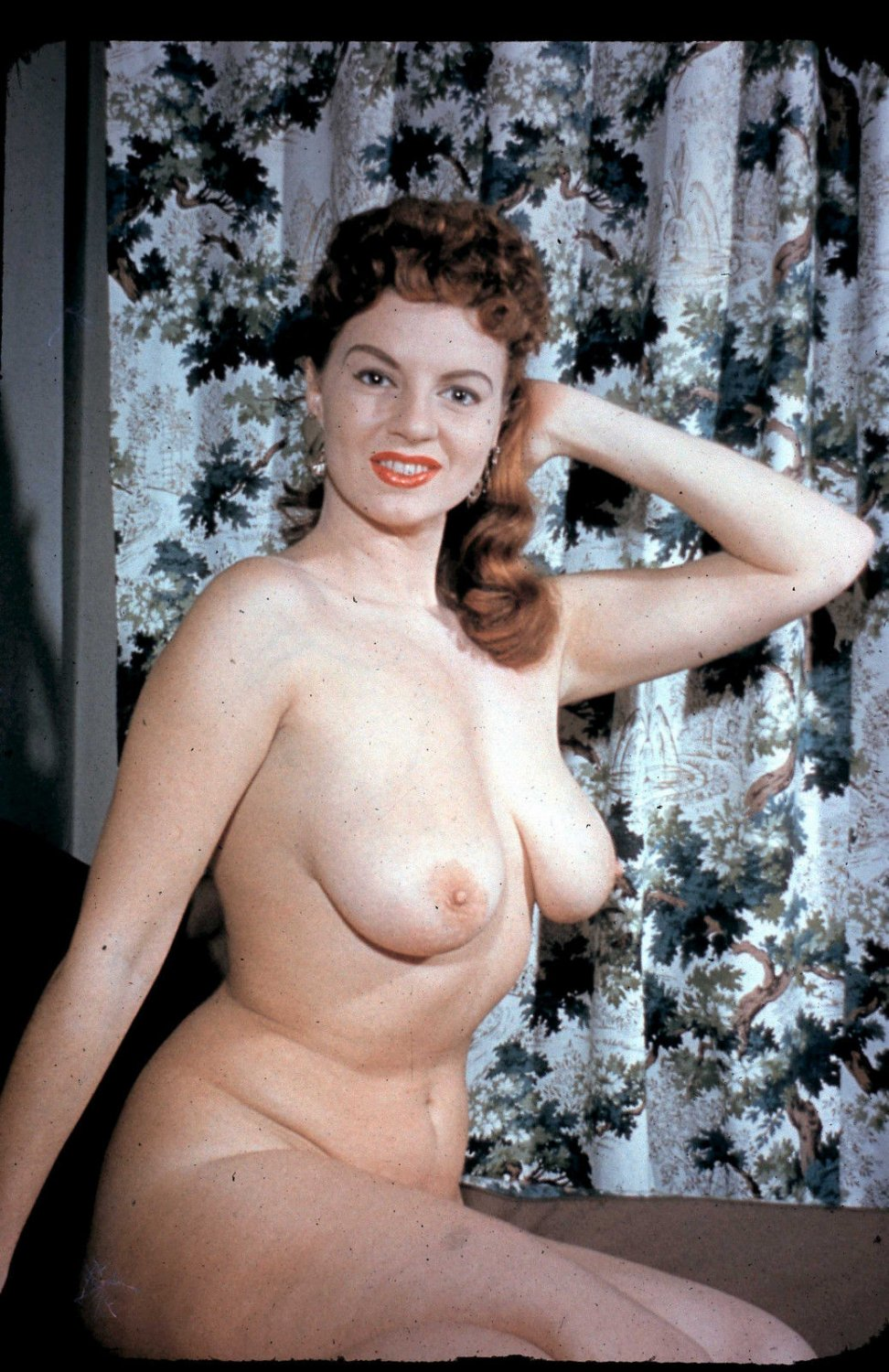 VINTAGE ORIGINAL JACKIE MILLER NUDE PHOTO COLOR SLIDE 35 MM 1950'S #182 RARE